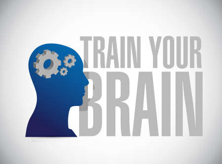 self training: train your brain sign concept illustration design Illustration