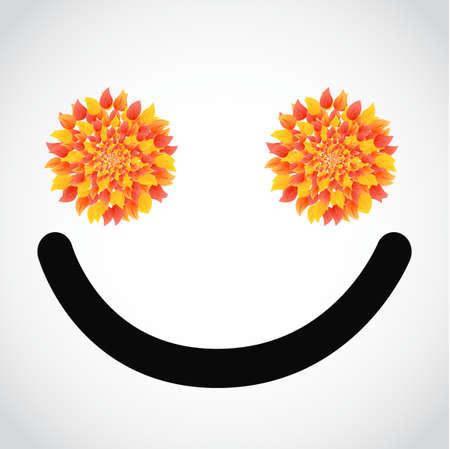 exited: autumn leaves smile face illustration design over white