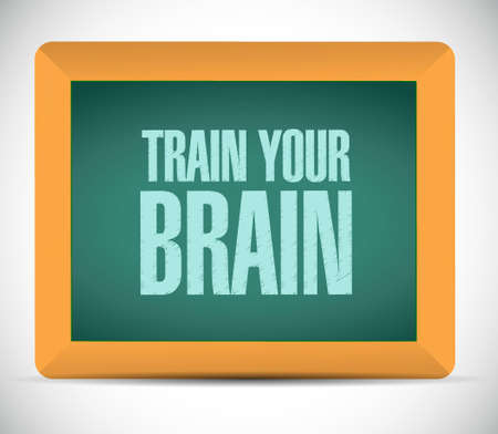 self development: train your brain chalkboard sign concept illustration design