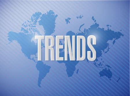 business trending: trends map sign concept illustration design over white