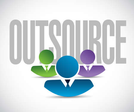 outsource: outsource team sign illustration design graphic over white