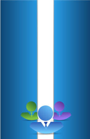 co workers: business people over a blue and white background illustration design Illustration