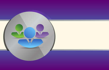 coworkers: coworkers on a grey circle over a purple background