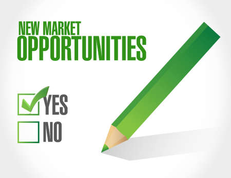 new opportunity: New market opportunities approval sign illustration design graphic