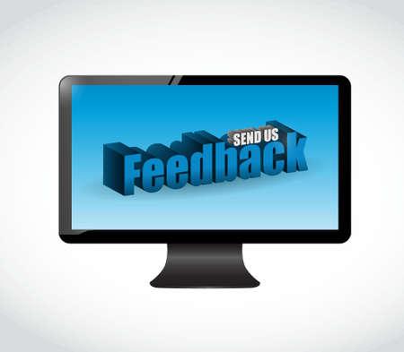 send us feedback screen sign illustration design over white Çizim