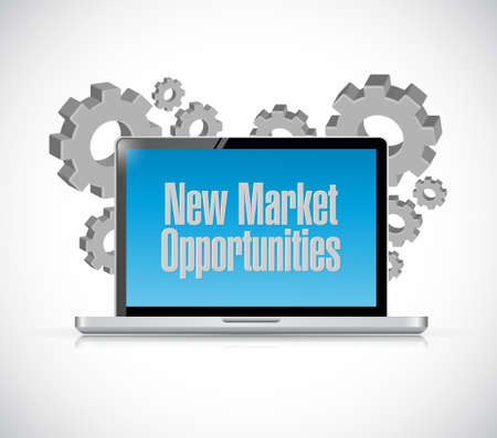 computer tech: New market opportunities tech computer sign concept illustration design graphic
