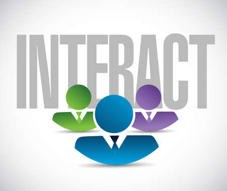 reach out: interact team sign illustration design graphic over white
