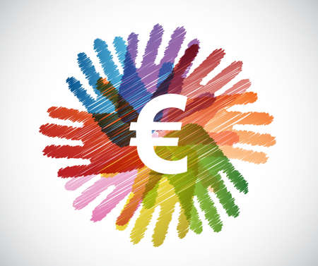 economy: euro currency over diversity hands circle illustration design concept