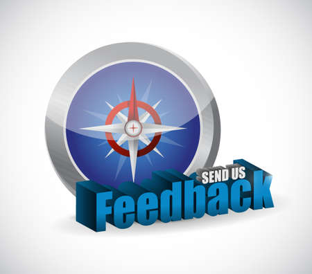 send us feedback compass sign illustration design over white Çizim