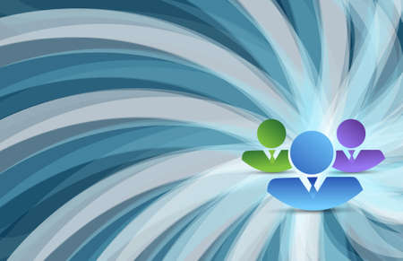 co workers: business team over a turning shapes blue background