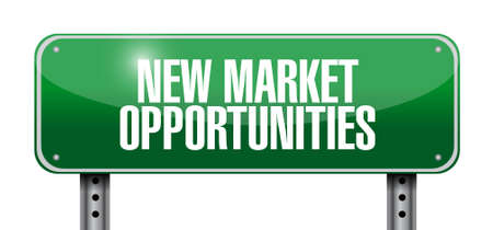 business opportunity: New market opportunities street sign concept illustration design graphic Illustration