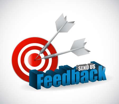 send us feedback target sign illustration design over white