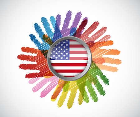us flag over diversity hands circle illustration design concept Çizim