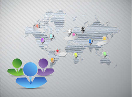 co workers: social media marketing team concept grey world background