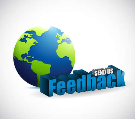 send us feedback around the globe sign illustration design over white