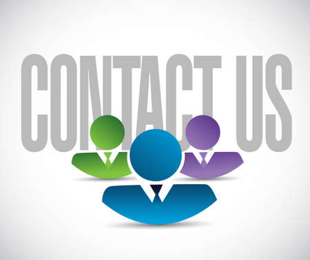 contact us team sign illustration design graphic over white
