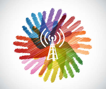 wifi: wifi tower over a color hands diversity concept. illustration design