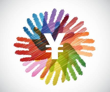 upwards: yen currency symbol over a diversity hands circle illustration design