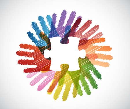 puzzle piece over diversity hands circle illustration design concept