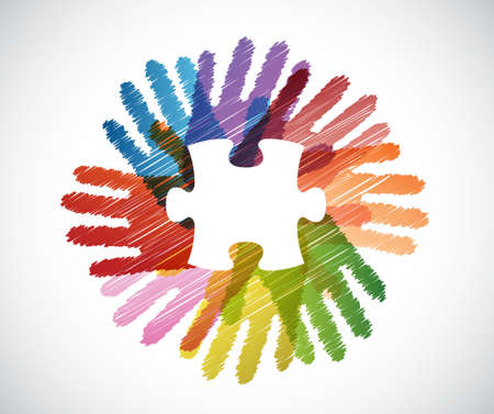 puzzle piece over diversity hands circle illustration design concept