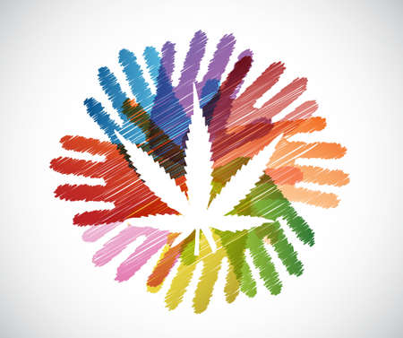 marijuana plant: marijuana plant over diversity hands circle illustration design concept Illustration