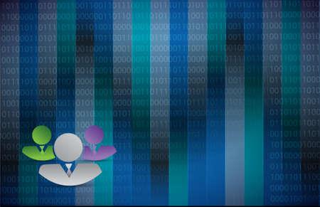 어두운 파란색 이진 배경 그림에서 비즈니스 근로자
