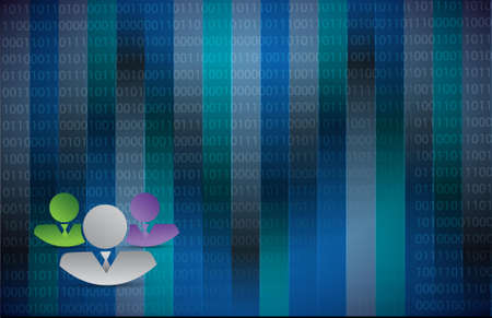 business workers over a dark blue binary background illustration