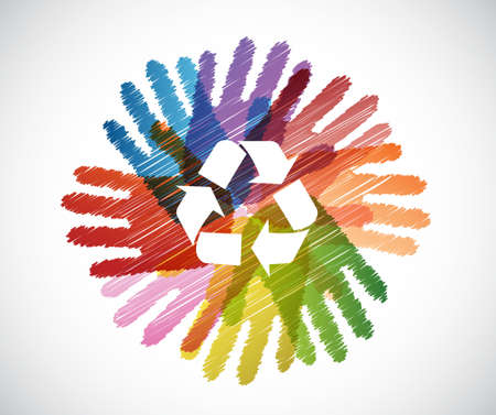 recycle symbol over diversity hands circle illustration design concept
