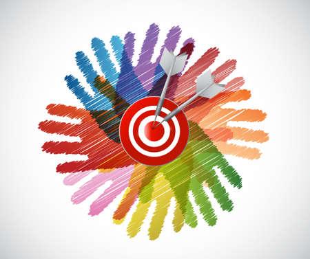 love target: target over diversity hands circle illustration design