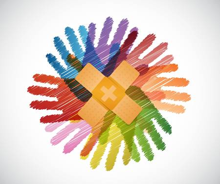 aid: Adhesive Bandages over diversity hands circle illustration design concept
