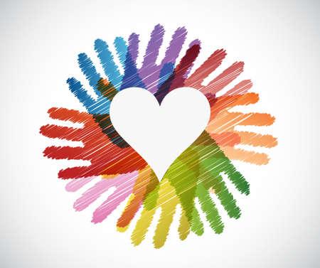 heart over diversity hands circle illustration design concept 일러스트