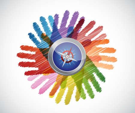 upwards: compass over diversity hands circle illustration design concept