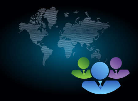 dark blue background: coworkers over a world map dark blue background