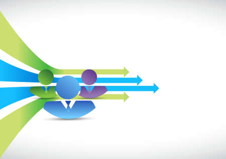forward arrow: business team moving forward arrow lines background Illustration