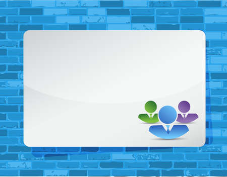 trabajo de grupo: group work business over a blue brick wall background