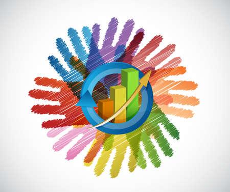 비즈니스 그래프 위에 색상 손 다양성 개념입니다. 일러스트레이션 디자인 일러스트