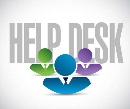 business desk: help desk team sign illustration design graphic over white