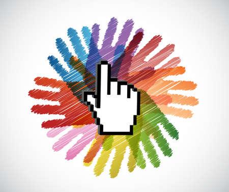 cursor hand over diversity hands circle illustration design concept Illustration