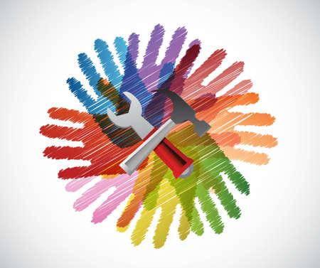 upwards: tools over diversity hands circle illustration design