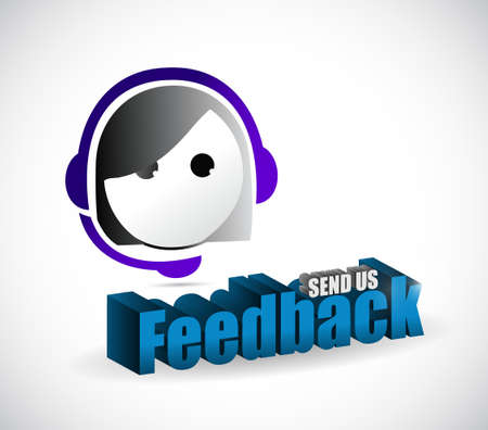 send us feedback female sign illustration design over white Çizim