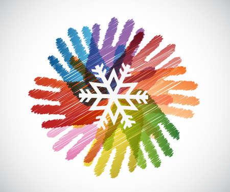 snowflake over diversity hands circle illustration design concept
