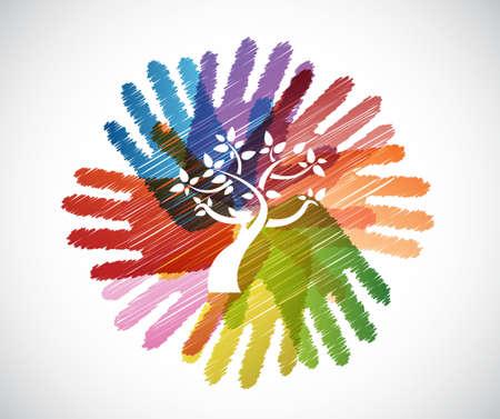 árbol sobre diversidad manos círculo, ilustración, diseño