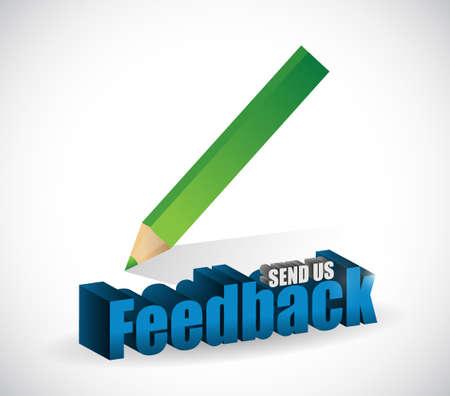 send us feedback pencil sign illustration design over white
