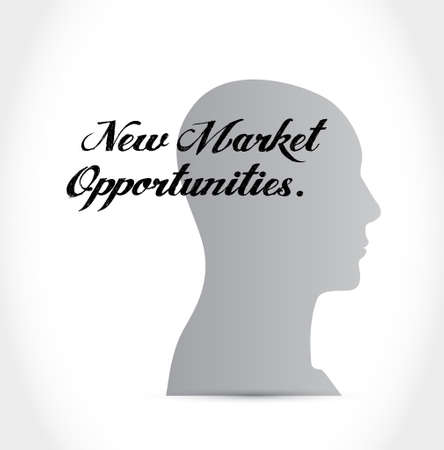 new opportunity: New market opportunities head sign concept illustration design graphic