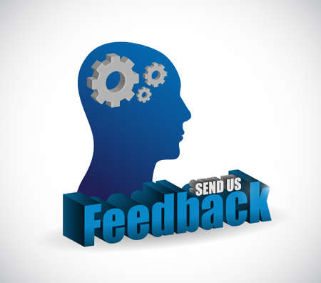 send us feedback brain sign illustration design over white Çizim