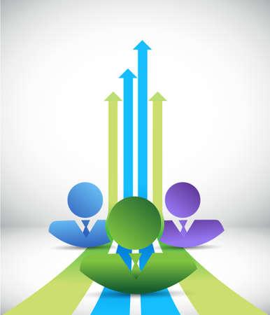 co workers: business team making profits concept illustration design background