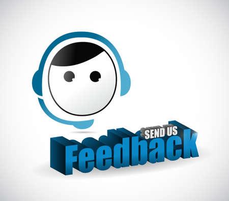 send us feedback male sign illustration design over white 일러스트