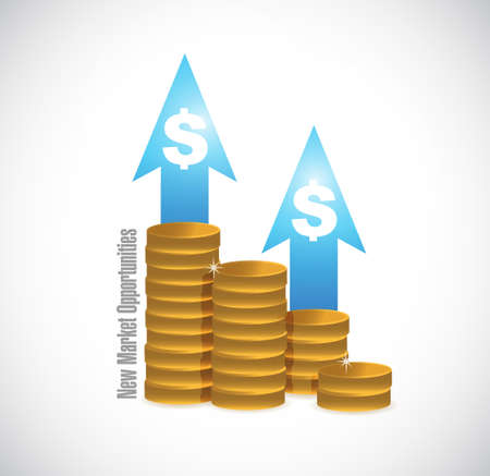 contractual: New market opportunities coin graph sign concept illustration design graphic