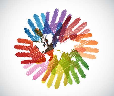 mundo manos: mapa del mundo sobre las manos de diversidad círculo, ilustración, diseño Vectores