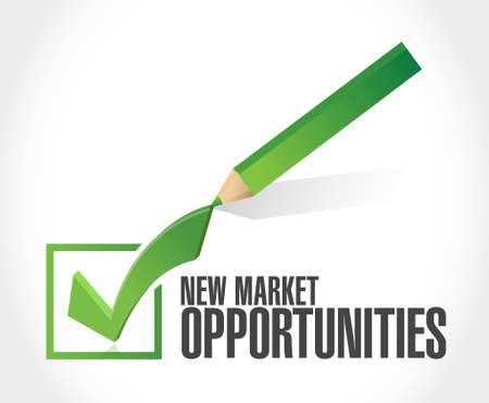 color pencil: New market opportunities check mark sign concept illustration design graphic